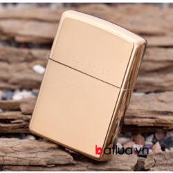 Bật lửa zippo chính hãng đồng bóng khắc chữ Solid Brass - Mã SP: BL10090