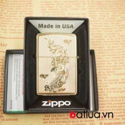 bật lửa zippo chính hãng đồng khắc 2 mặt hình rồng - Mã SP: BL03058