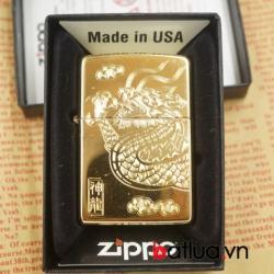 bật lửa zippo chính hãng đồng khắc đầu rồng - Mã SP: BL03070