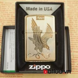 Bật lửa zippo chính hãng đồng vàng khắc 2 mặt hình chim đại bàng - Mã SP: BL03076