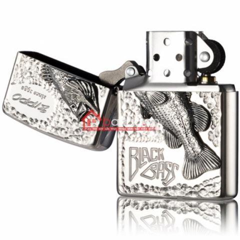 Bật lửa zippo chính hãng họa tiết cá bạc cổ Black Bass