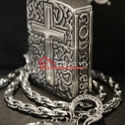 Bật lửa zippo chính hãng họa tiết cây thánh giá bạc - Mã SP: BL09902