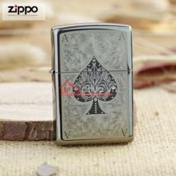 Bật lửa Zippo chính hãng In hình lá bài Át Bích - Mã SP: BL09938