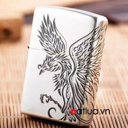 Bật lửa Zippo chính hãng khắc chim khổng tước - Mã SP: BL10383