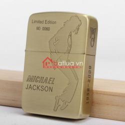 Bật lửa zippo chính hãng khắc hình Michael Jackson đồng xước - Mã SP: BL09908