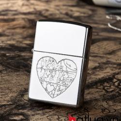 Bật lửa zippo chính hãng khắc trái tim Love - Mã SP: BL10084