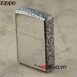 Bật lửa Zippo chính hãng mạ bạc khắc hoa văn xung quanh - Mã SP: BL00451
