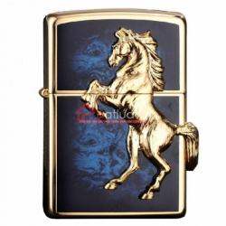 Bật lửa Zippo chính hãng mặt xanh mạ vàng khắc nổi - Mã SP: BL09972