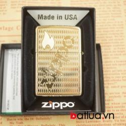 Bật lửa zippo chính hãng mầu vàng khắc logo zippo tinh tế - Mã SP: BL03075