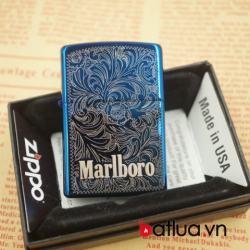 Bật lửa zippo chính hãng mầu xanh khắc hoa văn marlboro - Mã SP: BL03077