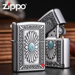 Bật lửa zippo chính hãng nam ngọc mầu xanh hoa văn tinh tế - Mã SP: BL03081