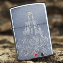 Bật lửa zippo chính hãng bạc khắc hình Quan Thế Âm - Mã SP: BL10143