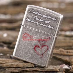Bật lửa Zippo chính hãng phiên bản Hàn Quốc bạc cổ trái tim tình yêu - Mã SP: BL09951