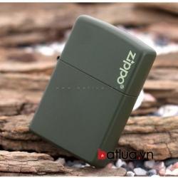Bật lửa Zippo chính hãng sơn xanh lính - Mã SP: BL10180