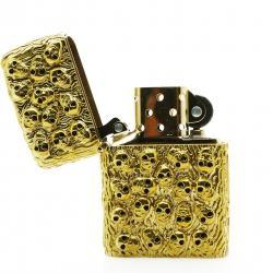 Bật lửa Zippo chính hãng USA xuất nhật bằng đồng mạ vàng bao quanh bởi các hình đầu lâu - Mã SP: BL01946