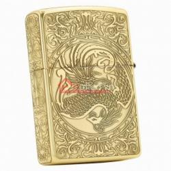 Bật lửa Zippo chính hãng vàng cổ khắc phượng múa - Mã SP: BL09976