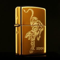 Bật lửa Zippo chính hãng vàng ìn hình hổ - Mã SP: BL09124