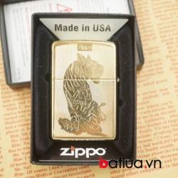 bât lựa zippo chính hãng vàng khắc 2 mặt hình hổ dũng mãnh - Mã SP: BL03069