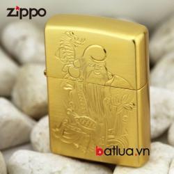 Bật lửa Zippo chính hãng xi vàng khắc hình ông Thọ - Mã SP: BL00453