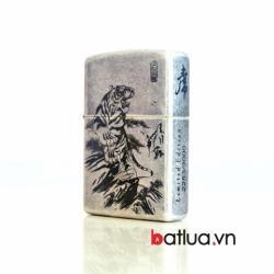 Bật lửa Zippo cổ bạc khắc hổ 3000 - Mã SP: BL10363