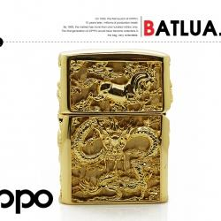 Bật lửa Zippo Long mã chính hãng vỏ được mạ vàng được gia công tỉ mỉ từng chi tiết nhìn rất sắc nét - Mã SP: BL01947