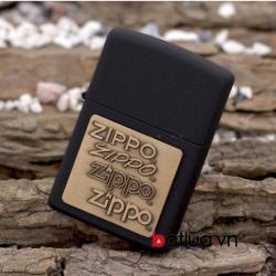 Bật lửa Zippo phiên bản đen nứt khắc huy hiệu đồng - Mã SP: BL10296