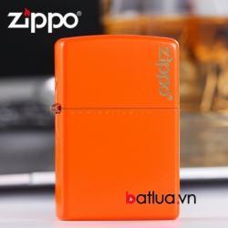 Bật lửa Zippo sơn cam in chữ - Mã SP: BL10311