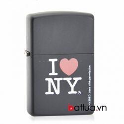 Bật lửa Zippo sơn đen in chữ I love NY - Mã SP: BL10303