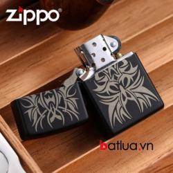 Zippo Chính Hãng Sơn Đen In họa tiết Tattoo - Mã SP: BL03212