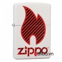 Bật lửa Zippo sơn trắng hình ngọn lửa đỏ - Mã SP: BL10302