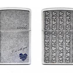 Bật lửa Zippo tình yêu chính hãng màu xám cổ - Mã SP: BL09099