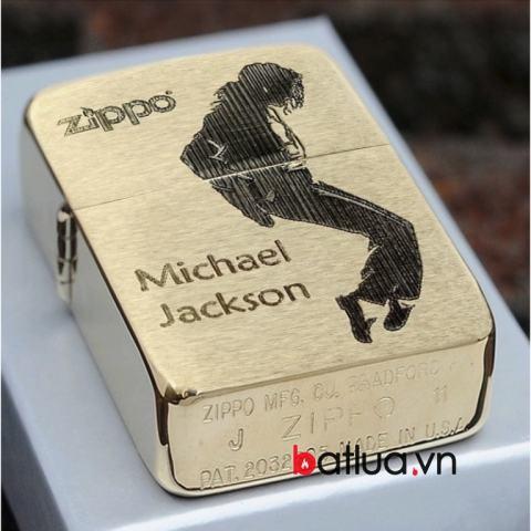Bật lửa Zippo vàng đồng hình Michael Jackson Ver 2