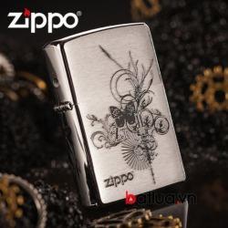 Bật lửa Zippo xước in hình bướm hoa - Mã SP: BL10297