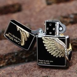 Bật lửa Zippo chính hãng Cupid Wings màu xám đen - Mã SP: BL09111