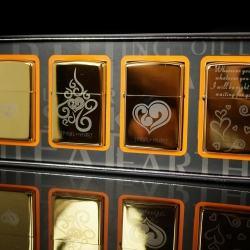 Bộ 4 sản phẩm Zorro khắc trái tim tình yêu màu vàng - Mã SP: BL01367