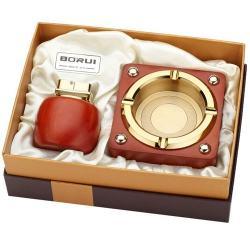 Bộ đôi bật lửa kiêm gạt tàn BORUI ánh kim vàng cực đẹp  BR-01T MS77 012 - Mã SP: BL00470