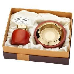 Bộ đôi bật lửa kiêm gạt tàn BORUI ánh kim vàng cực đẹp  BR-06T MS77 010 - Mã SP: BL00472
