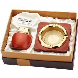 Bộ đôi bật lửa kiêm gạt tàn BORUI ánh kim vàng cực đẹp  BR-08T MS77 009 - Mã SP: BL00474