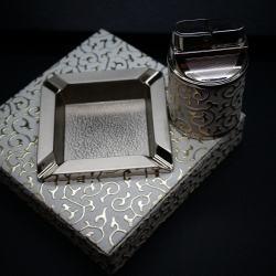 Bộ đôi bật lửa kiêm gạt tàn BORUI da trắng cực đẹp - Mã SP: BL00456