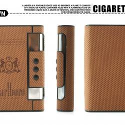 Hộp đựng thuốc đa năng kiêm bật lửa khò sang trọng logo Malboro bọc da màu nâu sang trọng ( Đựng Được 10 Điếu thuốc ) - Mã SP: BL02013