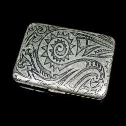Hộp đựng thuốc khắc hình hoa văn mặt trời của người Maya cổ điển (loại 16 điếu) - Mã SP: BL01546