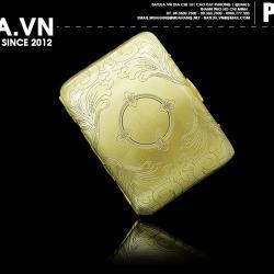 Hộp đựng thuốc lá bằng đồng nguyên chất hoạ tiết hoa văn bao quanh mặt trời (loại 16 điếu) - Mã SP: BL01912