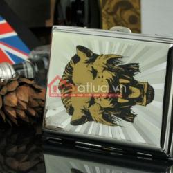 Hộp đựng thuốc lá bằng inox loại 16 điếu in hình sư tử hống - Mã SP: BL09037