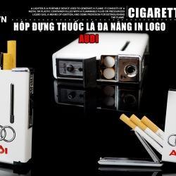 Hộp đựng thuốc lá đa năng đẩy thuốc sáng tạo kiêm lửa khò Audi màu trắng - Mã SP: BL01991