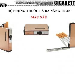 Hộp đựng thuốc lá đa năng inox nâu bóng loại 10 điếu - Mã SP: BL09076
