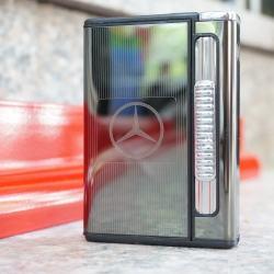 Hộp đựng thuốc lá đa năng kiêm bật lửa khò in logo hãng xe hơi nổi tiếng Mescedes - Mã SP: BL09158