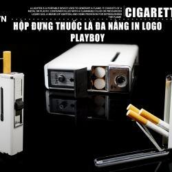 Hộp đựng thuốc lá đa năng kiêm bật lửa play boy trắng - Mã SP: BL01995