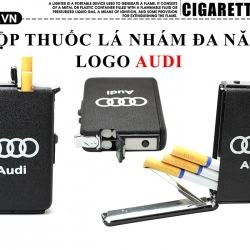 Hộp đựng thuốc lá đa năng màu đen nhám logo Audi - Mã SP: BL09110