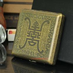 Hộp đựng thuốc lá teampistol khắc hoa văn đồng ( 20 Điếu ) - Mã SP: BL09204