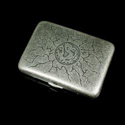 Hộp đựng thuốc màu xám chạm khắc hình rồng tái sinh (loại 16 điếu) - Mã SP: BL01659